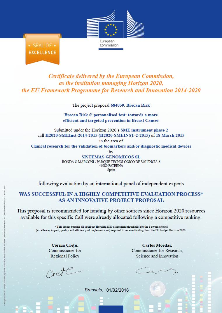 Certificado Europeo BrecanRisk