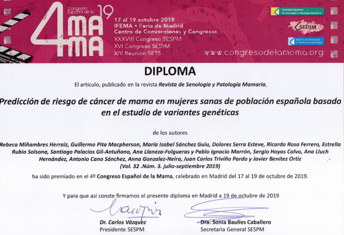 Diploma mejor artículo Senología 2019